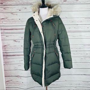 Ralph Lauren Winter Puffer Jacket Fur Green Sz Med